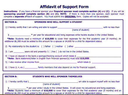 Sample support form from Hunter College. Note that forms as well values may change depending on individual schools.