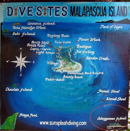 Location of snorkeling sites that surround Malapascua. To the bottom left of the picture is Maya port, the port that connects Cebu to Malapascua. To the bottom right is Kalanggaman island, a 2-hour boat ride from Malapascua. Kalanggaman is an island off Palompon, in Leyte. (Screen grab from Sunsplash Diving.)