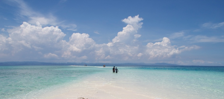 "The pristine sandbar appears from early to  midmorning, but ""vanishes"" around lunchtime."